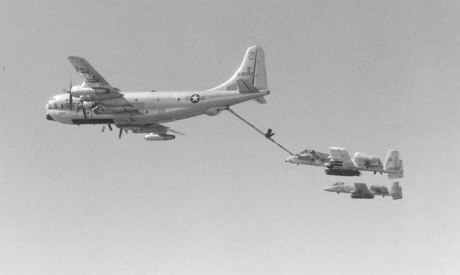 Even after that, some of the airplanes remained in use with the Air Force Reserve and Air National Guard as tankers or search and rescue aircraft. Here, a Texas Air National Guard Boeing KC-97 refuels two Fairchild Republic A-10As. Photo: U.S. Air Force