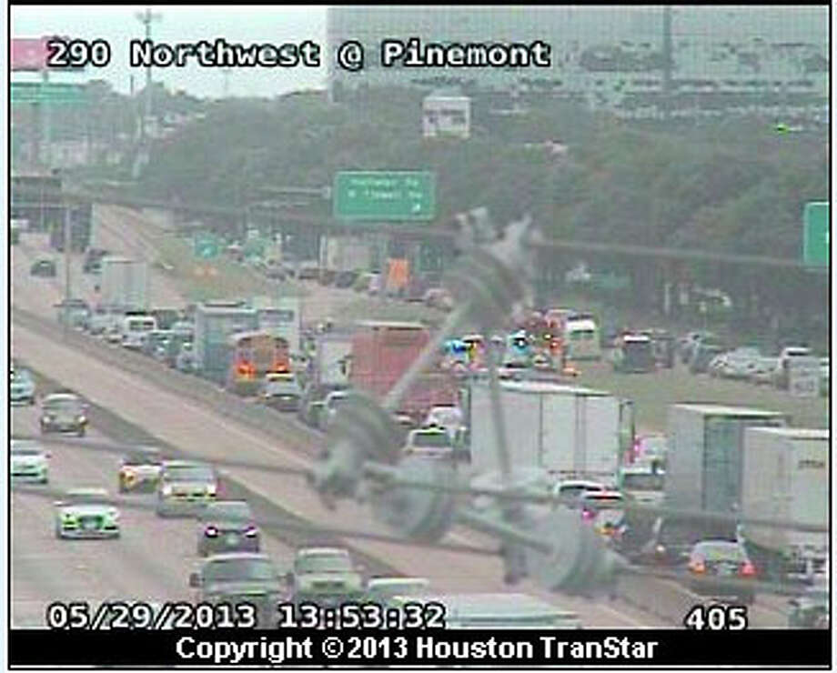 A six-car pileup has snarled traffic at 290 and Pinemont. Photo: Houston Transtar