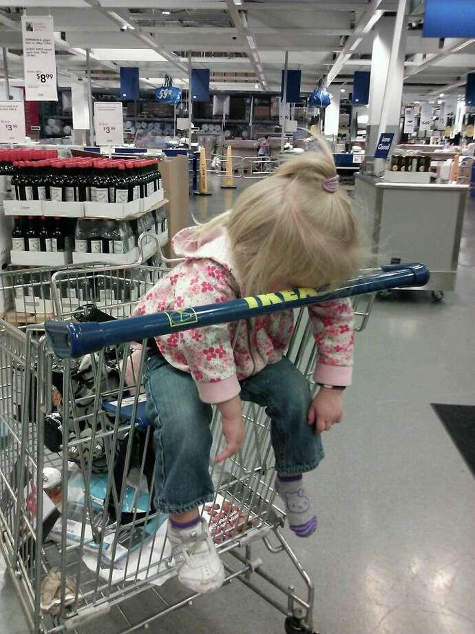 A tuckered-out Ikea shopper. Photo: Ceri Hitchcock