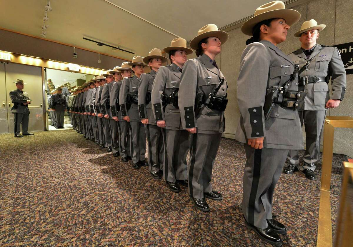 The 199th class of the New York State Police enters the Convention Center of the Empire State Plaza May 29, 2013, for their graduation ceremony in Albany, N.Y. (Skip Dickstein/Times Union)