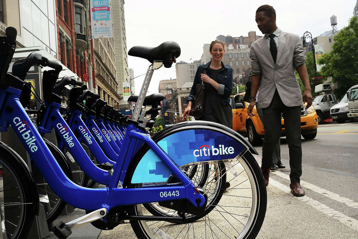 Citi Bikes stand at a docking station in Union Square on May 29, 2013 in New York City. Citi Bike, the long awaited bike sharing program that launched over the Memorial Day weekend in New York, provides 6,000 bikes which are available for short-term rental at 330 stations in Manhattan below 59th Street and parts of Brooklyn. Until June 2nd only members of the Citi Bike program can use the bikes. The bikes will rent daily for $9.95 (plus tax ) or weekly for $25 and will be limited to trips of 30 minutes each. More than 16,000 people have signed up to be members so far.