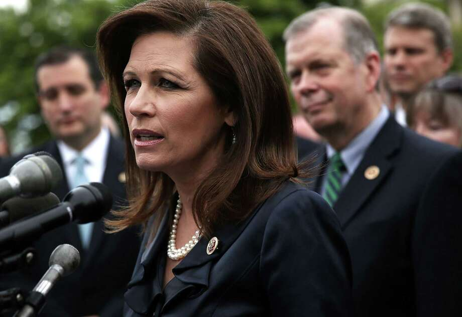 WASHINGTON, DC - MAY 16:  U.S. Rep. Michele Bachmann (R-MN) speaks during a news conference May 16, 2013 on Capitol Hill in Washington, DC. Bachmann held a news conference with Tea Party leaders and congressional members to discuss the IRS scandal of targeting the Tea Party.  (Photo by Alex Wong/Getty Images) Photo: Alex Wong, Staff / 2013 Getty Images
