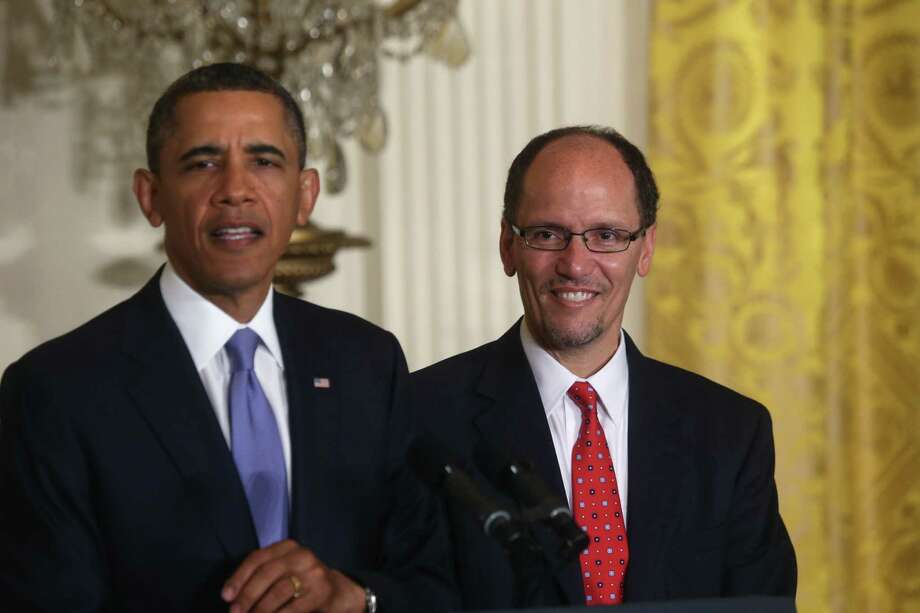 President Barack Obama has nominated Thomas Perez, who heads the Civil Rights Division at the Justice Department, to be the next secretary of labor, a choice that promises to provoke a debate with Republicans about voting rights and discrimination. Photo: Doug Mills, New York Times
