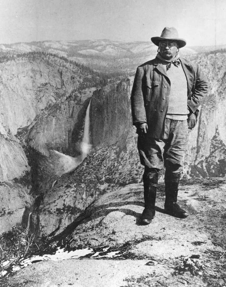 Here's Theodore Roosevelt in 1903, at Glacier Point in Yosemite 