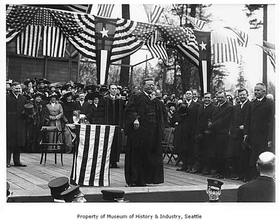 On April 6, 1911, Theodore Roosevelt returned to Seattle after his presidency was over and spoke to students and dignitaries at the University of Washington, pictured. He spoke of the importance of conserving forests and fisheries, and studying history. (Photo: Webster & Stevens/Copyright MOHAI, 1983.10.9304.2).  Photo: -