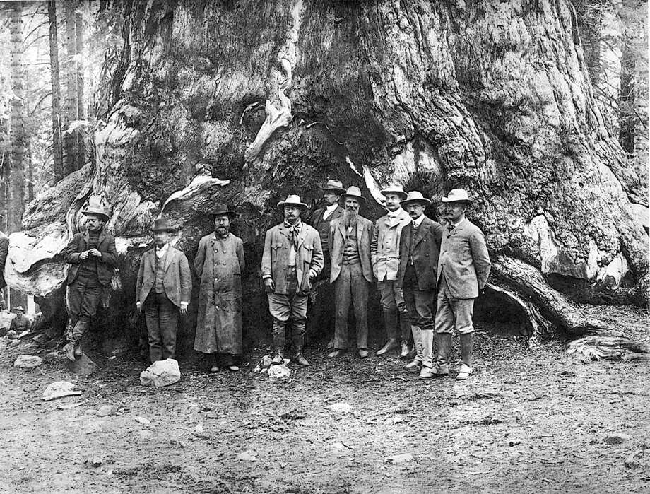 Teddy Roosevelt is pictured with conservationist John Muir (to the President's left) in Yosemite Valley, California, in 1903. (Photo: PhotoQuest/Getty Images) Photo: -