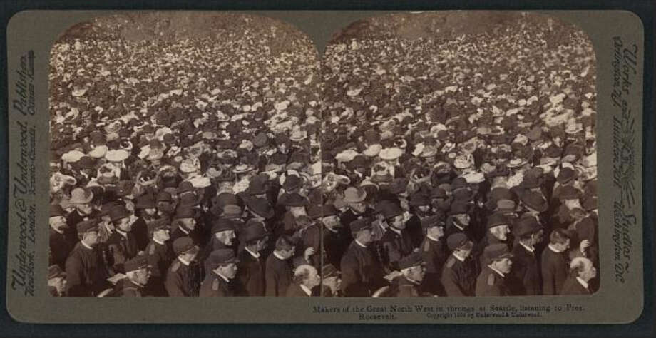 Thousands of people in Seattle came out to see Roosevelt, who spoke about Alaska and the importance of conservation. Photo, of the 1903 crowd in Seattle, is from the Library of Congress.  Photo: -