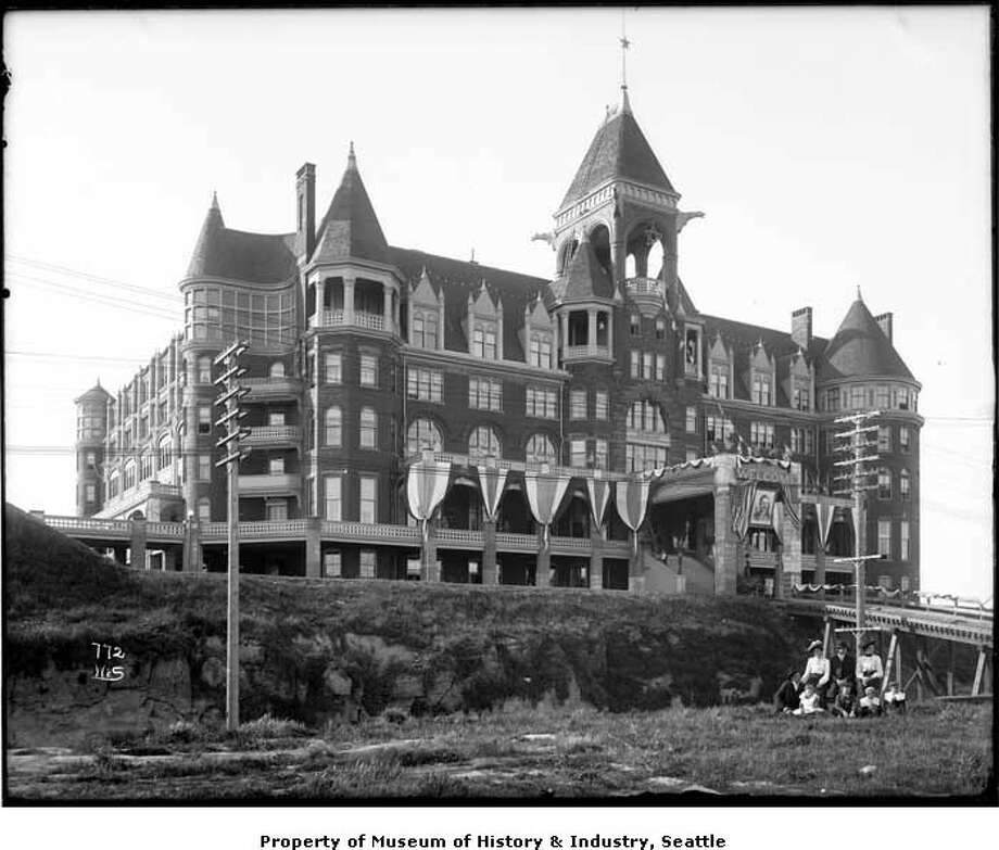 "Roosevelt stayed at the now-defunct Washington Hotel atop Denny Hill, seen here decorated in 1903. Washington Hotel opened in 1890 as the ""Denny Hotel,"" between Second and Fourth avenues and Stewart and Virginia streets. (Photo: Webster & Stevens/Copyright MOHAI, 1983.10.6708).  Photo: -"