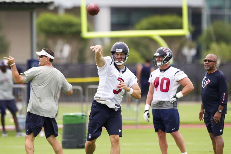 Texans quarterback Stephen McGee (3) throws a pass.