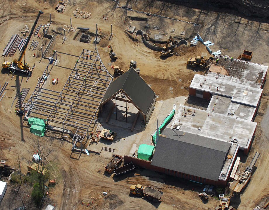 Aerial photo shows progress of construction on the new Black Rock Congregational Church on upper Black Rock Turnpike earlier this month.  Morgan Kaolian AEROPIX Photo: Morgan Kaolian AEROPIX / Fairfield Citizen contributed