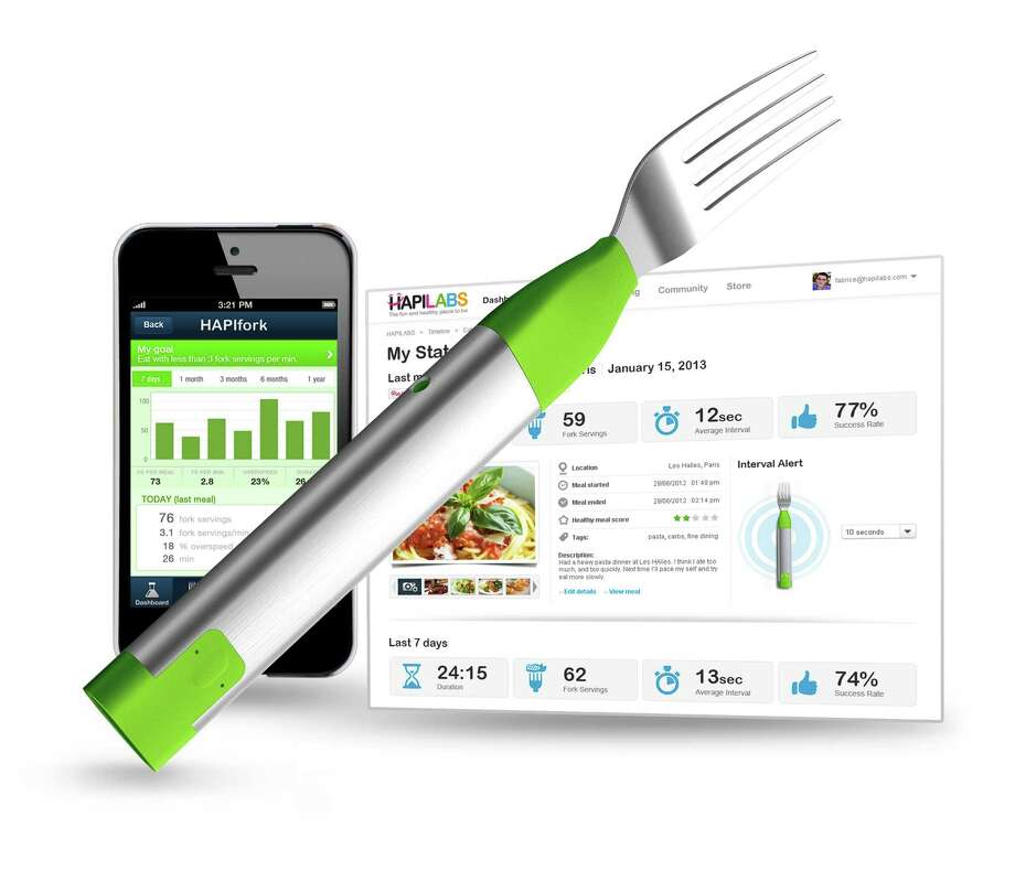 The HAPIfork, an electronic fork that tracks how much food you eat and how fast you eat it. Photo: Courtesy