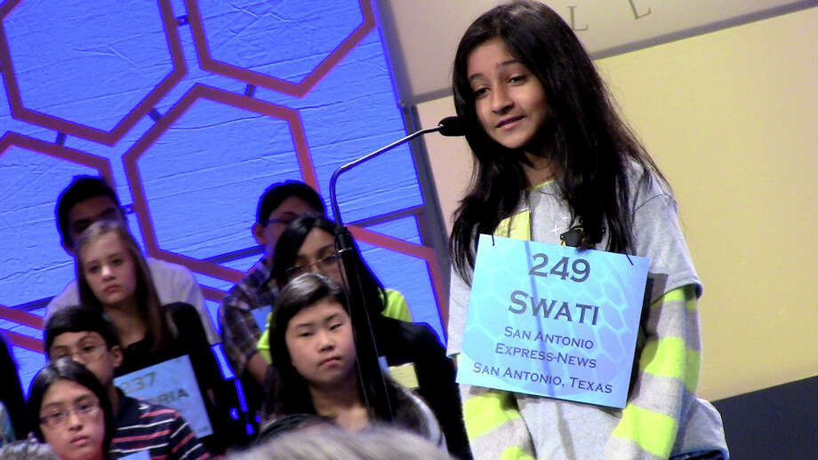 "Swati Sharma, a 12-year-old 7th grader from Boerne, aced the spelling of ""bezoar''to win promotion to the second round of the oral competition at the 89th annual Scripps Spelling Bee. Swati, who attends Saint Mary's Hall, is sponsored at the Bee by the San Antonio Express-News.She asked the language of origin (Persian) and the definition (a stomach growth) before cautiously proceeding: ""b-e-z-o-a-r."" Victory! Photo: David McCumber, Washington Bureau / Washington Bureau"