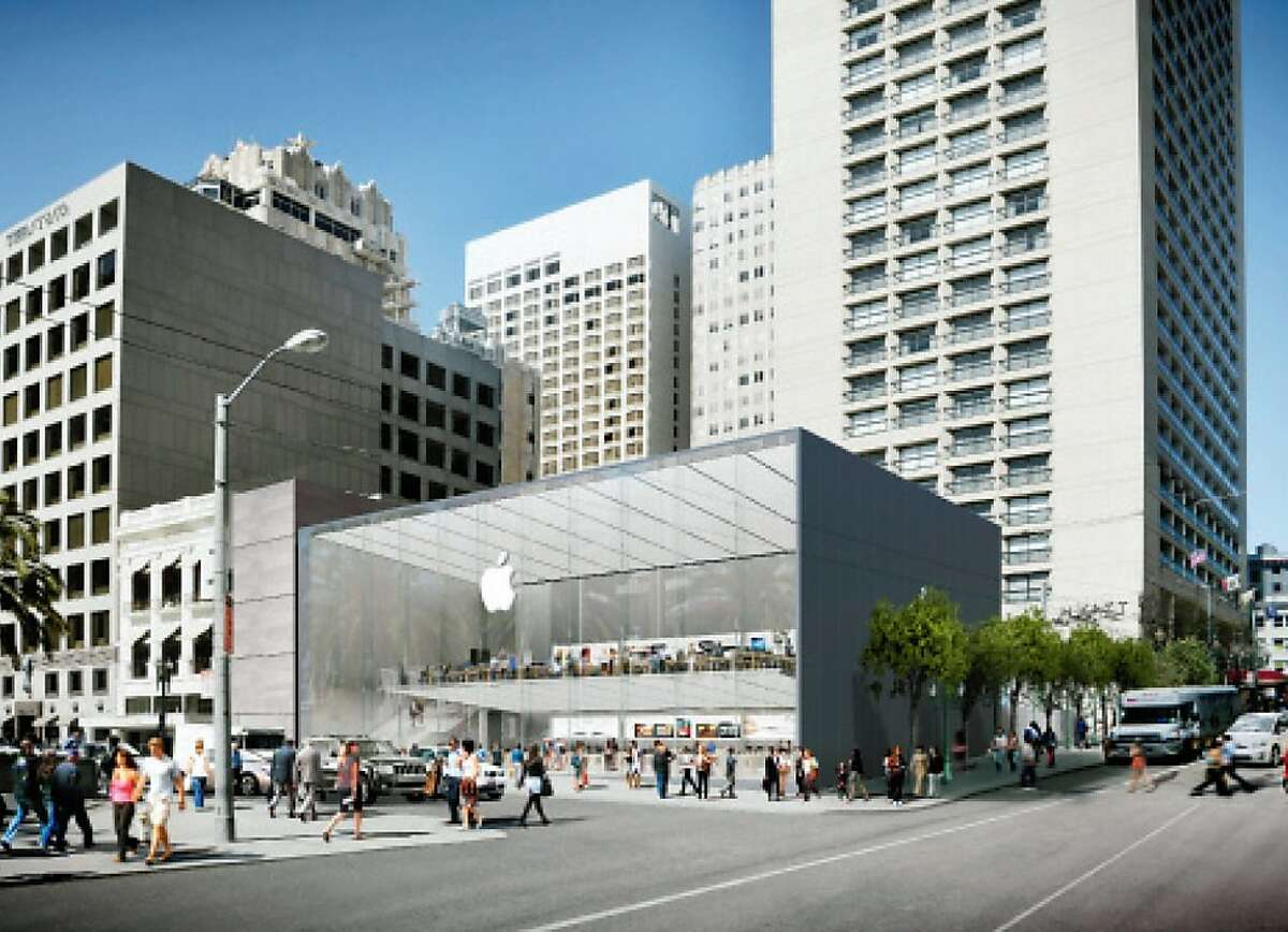"""SOUTHEAST ELEVATION -The proposed Apple Store for the the corner of Post and Stockton streets across from Union Square would replace an existing four-story triangular retail building with a two-story rectangle of metal and glass. The new building would also alter the brick-stepped plaza that frames the Grand Hyatt on Stockton Street -- a space that includes the popular """"San Francisco Fountain"""" by Ruth Asawa."""