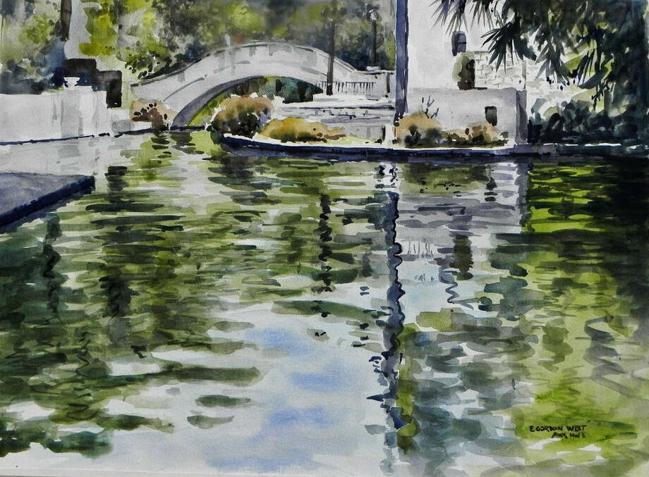 Watercolor Gang member Gordon West painted this view of the San Antonio River at Rosita's Bridge. Photo: Courtesy Photos