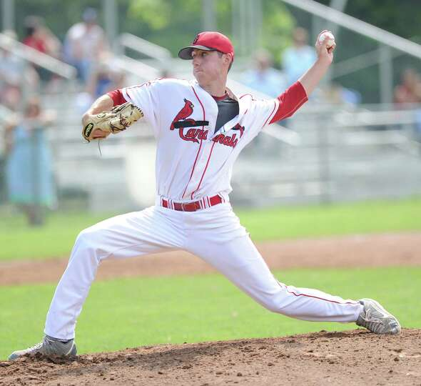 Greenwich pitcher Ryan Marks throws during the Class LL boys high school baseball playoff game betwe