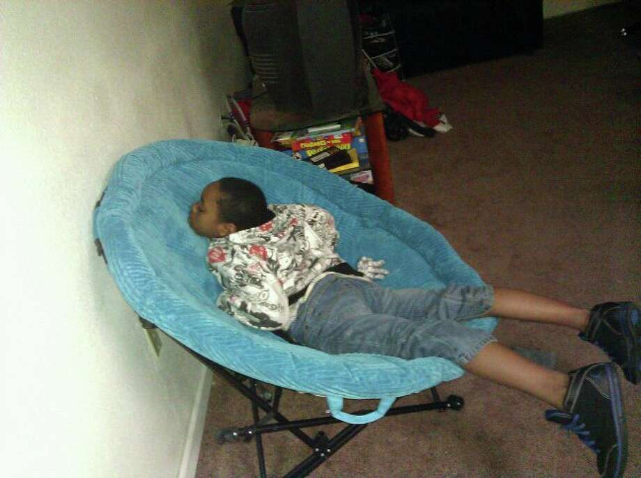 This kid can even nod off in the world's most uncomfortable sleeping position! Photo: Stephanie Tillery-Kemp
