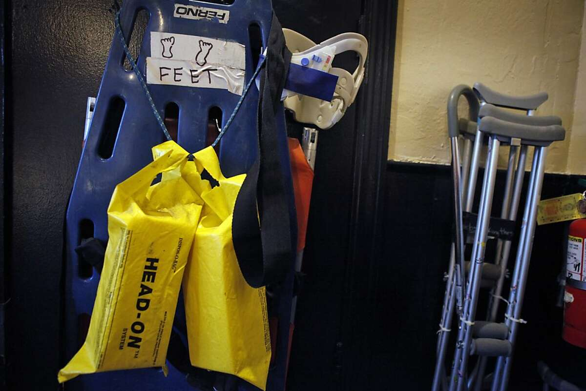 """The RockMed workspace is prepped with a backboard, stabilizer pads, crutches and other items before the start of a concert at the Fillmore Auditorium in San Francisco, Calif., on Tuesday, May 14, 2013. This year marks the 40th anniversary of """"Rock Medicine,"""" also known as RockMed, the group of doctors and volunteers who have dealt with medical needs at rock concerts all over Northern California since the organization began in the Haight Ashbury."""