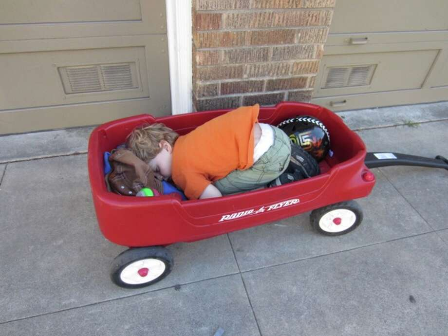 Curled up in a little red wagon. Photo: Patty-ryan