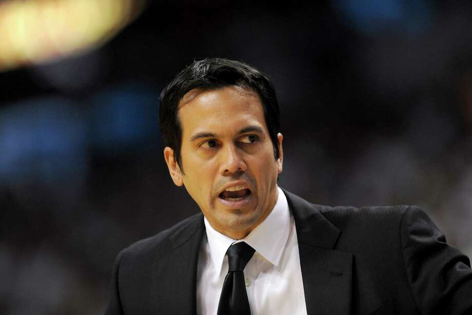 Miami Heat coach Erik Spoelstra yells out a play during the first quarter of the NBA Eastern Conference playoffs against the Chicago Bulls at the AmericanAirlines Arena in Miami, Florida, Wednesday, May 6, 2013. (Joe Cavaretta/Sun Sentinel/MCT) Photo: Joe Cavaretta, MBR / Sun Sentinel