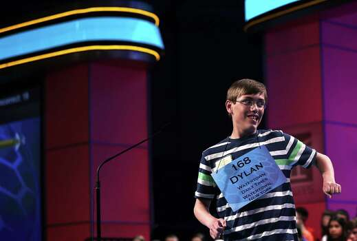 "Dylan O'Connor of Alexandria Bay, New York, celebrates after he correctly spelled the word ""acervation"" in the round three of the 2013 Scripps National Spelling Bee May 29, 2013 at Gaylord National Resort and Convention Center in National Harbor, Maryland. Spellers competed in the annual spelling contest for the championship. Photo: Alex Wong, Getty Images / 2013 Getty Images"