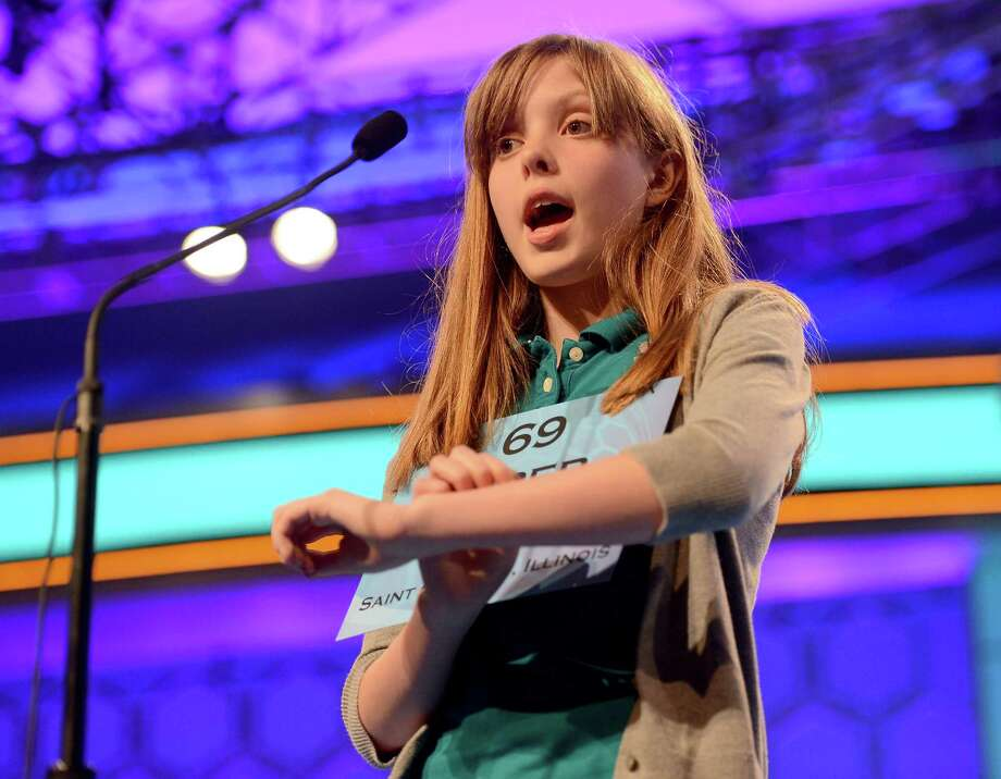 Piper Wynne Winkle of Geneve, Illinois, competes during the second round of the 2013 Scripps National Spelling Bee. Photo: Chuck Myers, McClatchy-Tribune News Service / MCT