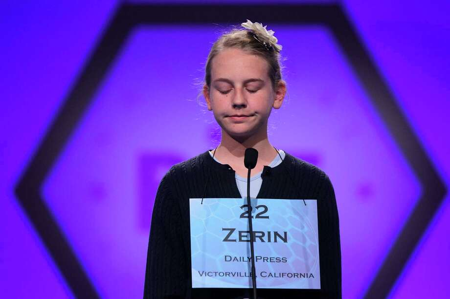 "Zerin Wetzel of Fort Irwin, California, reacts during round two of the 2013 Scripps National Spelling Bee May 29, 2013 at Gaylord National Resort and Convention Center in National Harbor, Maryland. Two hundred and eighty spellers competed in the annual spelling contest for the championship. Wetzel misspelled the word ""commissar"" and was eliminated from the contest. Photo: Alex Wong, Getty Images / 2013 Getty Images"