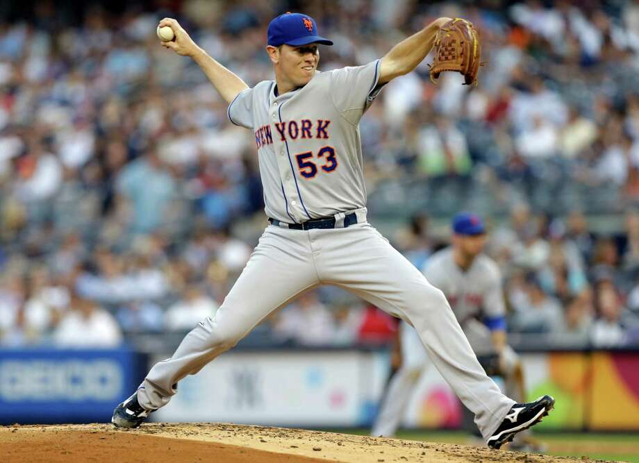 New York Mets starting pitcher Jeremy Hefner (53) winds up in the first inning against the New York Yankees in an interleague baseball game at Yankee Stadium in New York, Wednesday, May 29, 2013. Photo: Kathy Willens