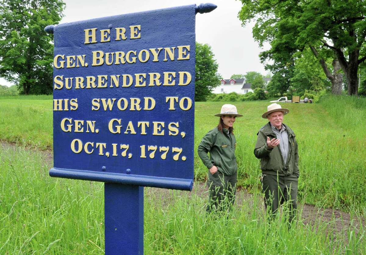 Saratoga National Historical Park Ranger Megan Stevens, left, and Superintendent Joe Finan at the park's newly acquired satellite property along Rt. 4, in the Town of Saratoga Wednesday May 29, 2013. The site is where British Gen. Burgoyne surrendered his sword to Gen. Gates at America's first major victory in the Revolutionary War. (John Carl D'Annibale / Times Union)