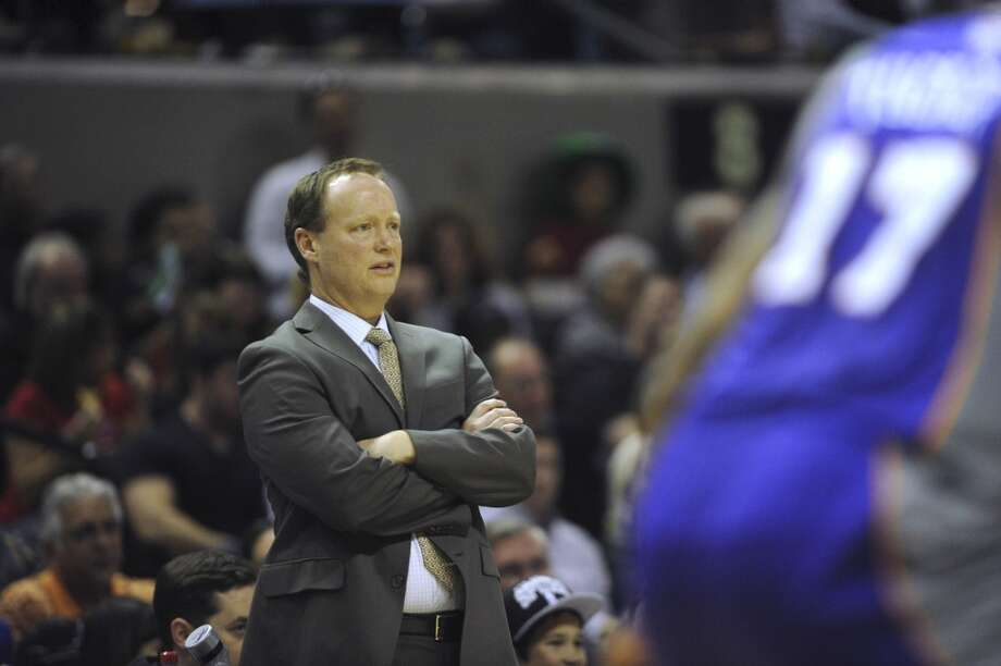 Spurs acting head coach Mike Budenholzer watches the action against the Phoenix Suns during NBA action at the AT&T Center on Saturday, Jan. 26, 2013. (Billy Calzada / San Antonio Express-News)