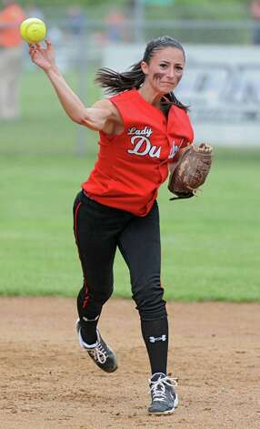 Guilderland second baseman Tori Greco throws the ball to first base during a Class AA Section II softball semifinal against Colonie on Wednesday, May 29, 2013 in Colonie, N.Y.  (Lori Van Buren / Times Union) Photo: Lori Van Buren / 00022607A