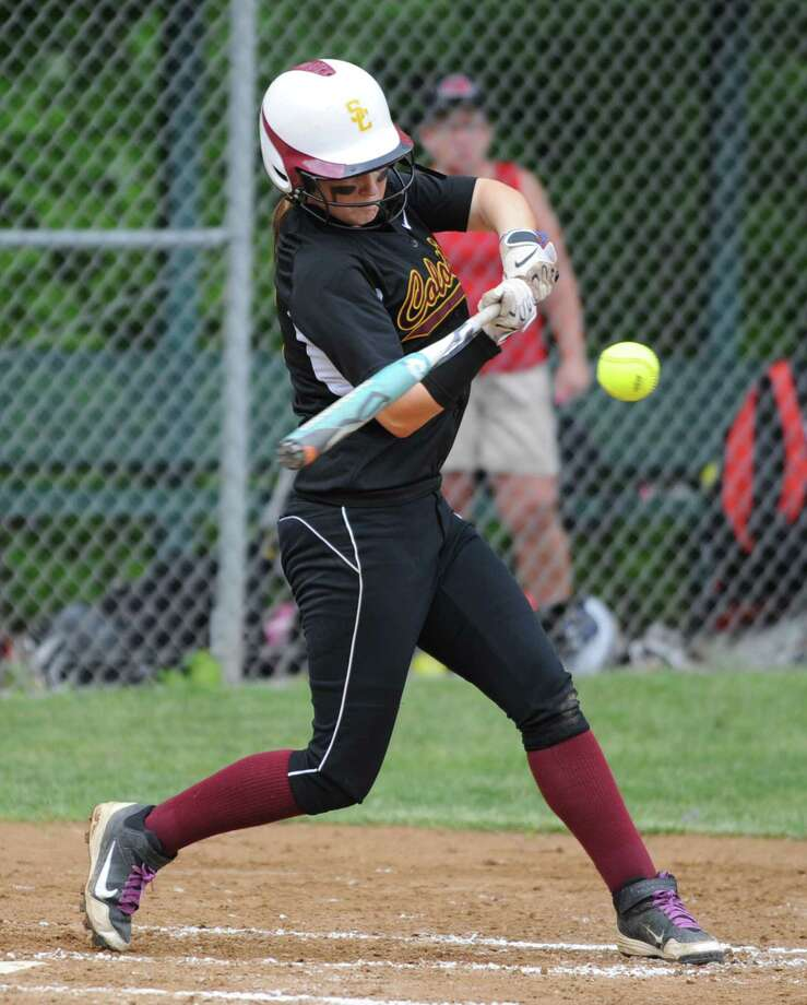 Colonie's Stephanie Reinhardt grounds the ball to second base for an out during a Class AA Section II softball semifinal against Guilderland on Wednesday, May 29, 2013 in Colonie, N.Y.  (Lori Van Buren / Times Union) Photo: Lori Van Buren / 00022607A