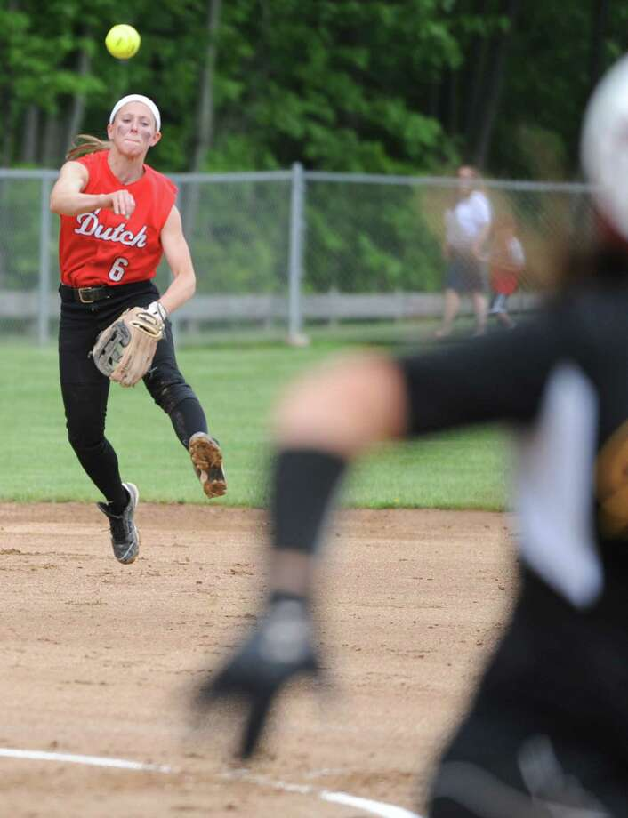Guilderland shortstop Jenna Cubello throws the ball to first base during a Class AA Section II softball semifinal against Colonie on Wednesday, May 29, 2013 in Colonie, N.Y.  (Lori Van Buren / Times Union) Photo: Lori Van Buren / 00022607A