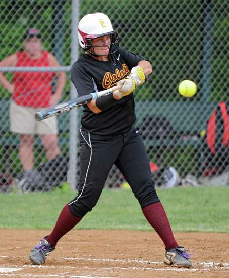 Colonie's Kassidy Ogren swings her bat during a Class AA Section II softball semifinal against Guild