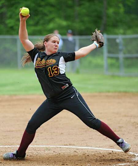 Colonie pitcher Kelly Lane throws the ball during a Class AA Section II softball semifinal against G