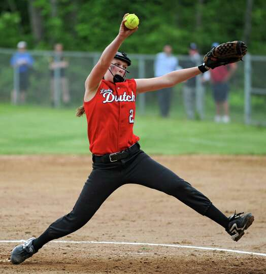 Guilderland pitcher Taylor Tewkbury throws the ball during a Class AA Section II softball semifinal