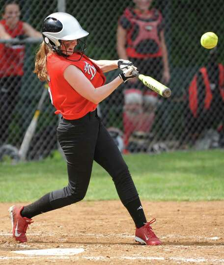 Guilderland's Mackenzie Lozano hits a single during a Class AA Section II softball semifinal against