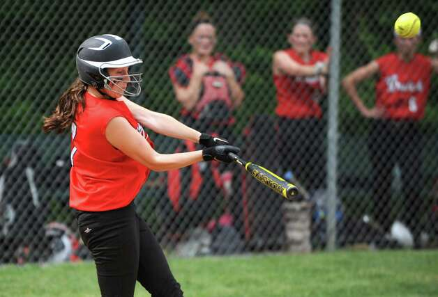 Guilderland's Doris Kane knocks in three runs with this double during the Class AA Section II softball semifinal against Colonie on Wednesday, May 29, 2013 in Colonie, N.Y.  (Lori Van Buren / Times Union) Photo: Lori Van Buren / 00022607A