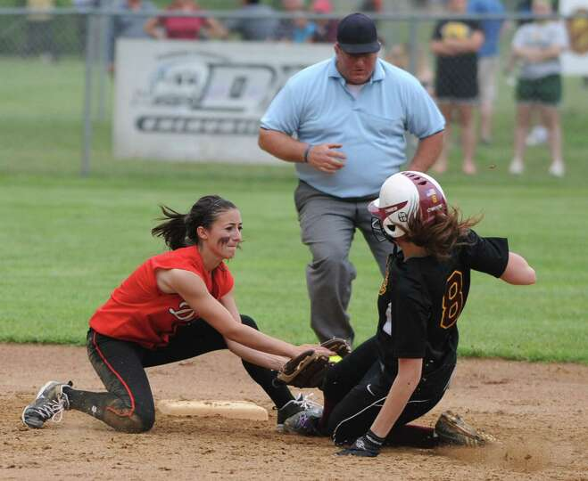 Guilderland second baseman Tori Greco tags out Colonie's Maryelizabeth Waterman during a Class AA Se