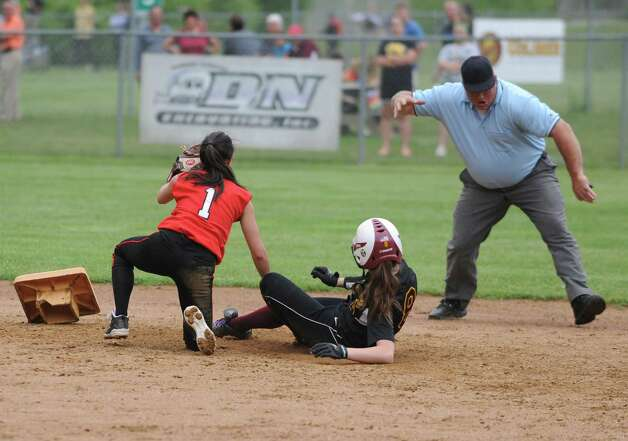 Guilderland second baseman Tori Greco tags out Colonie's Maryelizabeth Waterman during a Class AA Section II softball semifinal on Wednesday, May 29, 2013 in Colonie, N.Y.  (Lori Van Buren / Times Union) Photo: Lori Van Buren / 00022607A