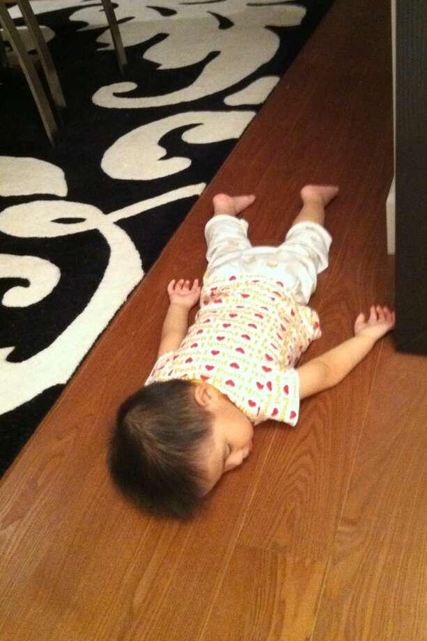 Asleep on the floor. Photo: David