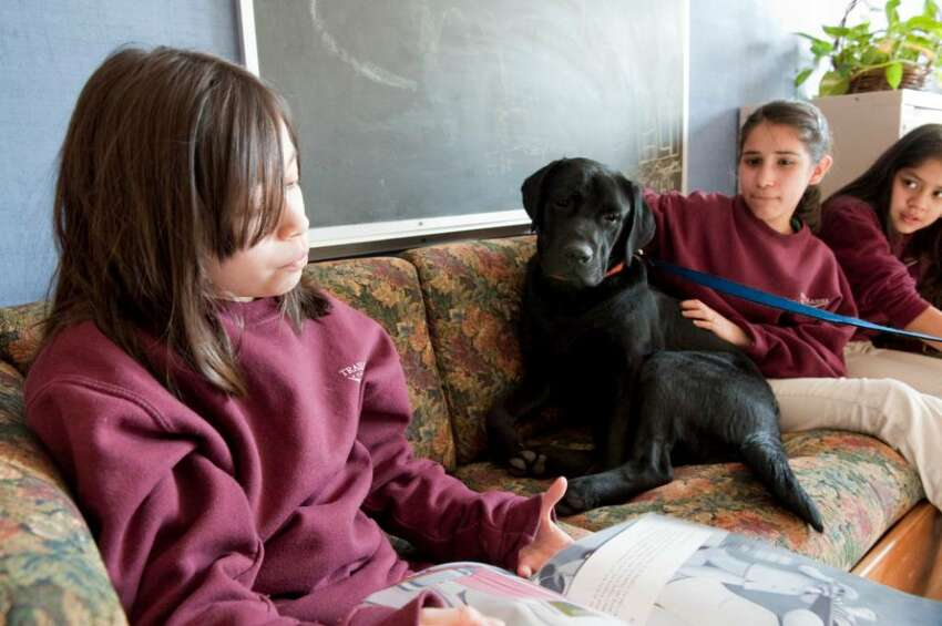 Alileen Barillas, Cintia Enamorado and Joselyn DeLeon all 11 and 6 graders at Trailblazers Academy students read out loud in the company of Eli a black lab retriever puppy Tuesday Jan. 12, 2009. For about six weeks now, struggling readers at the charter middle school have practiced in front of the least judgmental of listeners, a dog
