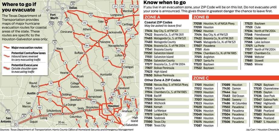 Hurricane evacuation graphic for 2013 hurricane guide.(Jay Carr / Houston Chronicle) Photo: Jay Carr / Houston Chronicle