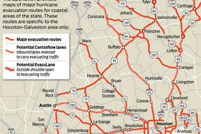 Hurricane evacuation graphic for 2013 hurricane guide.(Jay Carr / Houston Chronicle)