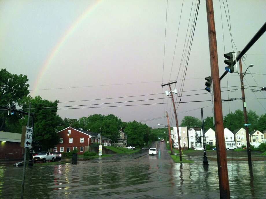 2nd Avenue in Troy, looking east. Severe weather hit the Capital Region on Wednesday, May 29, 2013. (Bill Murtha) Photo: Contributed Photo