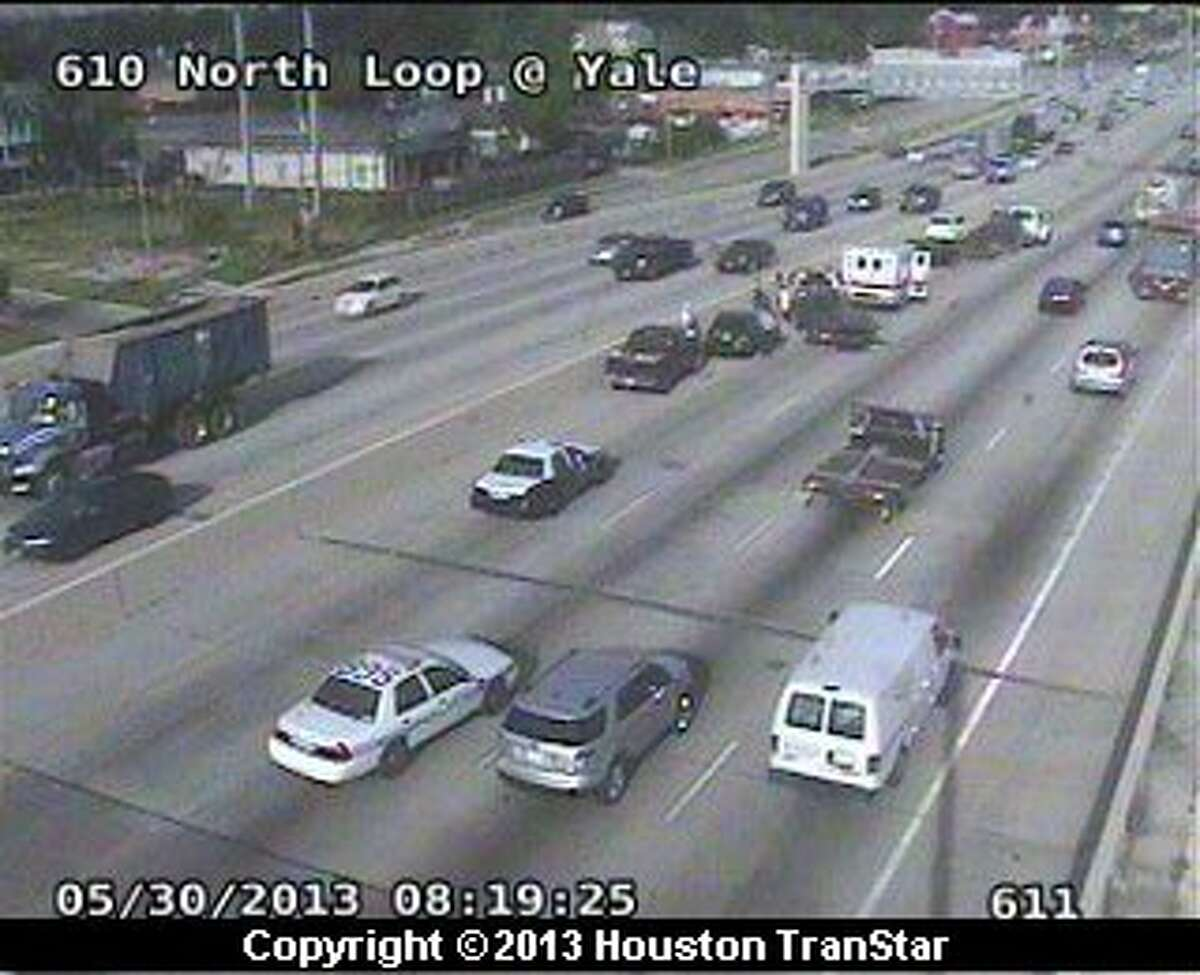 Traffic was snarled after a crash on the North Loop near Yale Thursday morning.