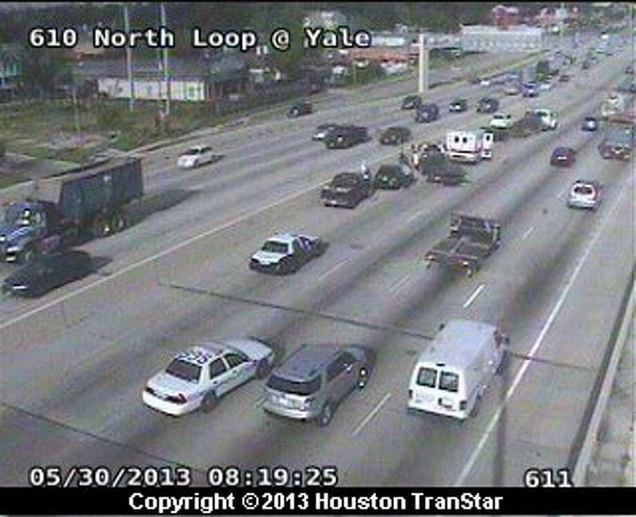 Traffic was snarled after a crash on the North Loop near Yale Thursday morning. Photo: Houston Transtar