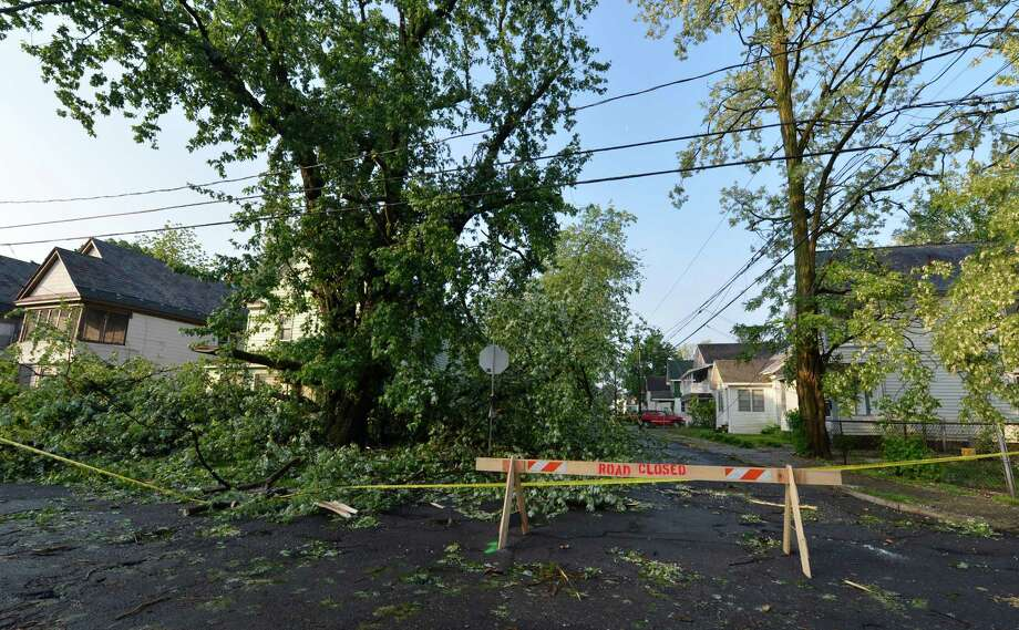 Road closure signs are all over the Bellvue and Woodlawn sections May 31, 2013 after a storm hit the area in Schenectady, N.Y. Photo: Skip Dickstein