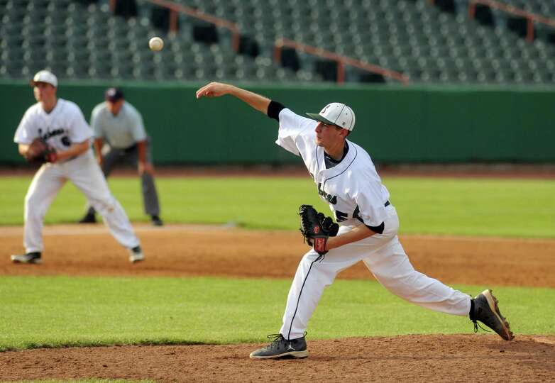 Schalmont's Jim Hamilton deals a pitch during their Section II Class B boy's baseball final against