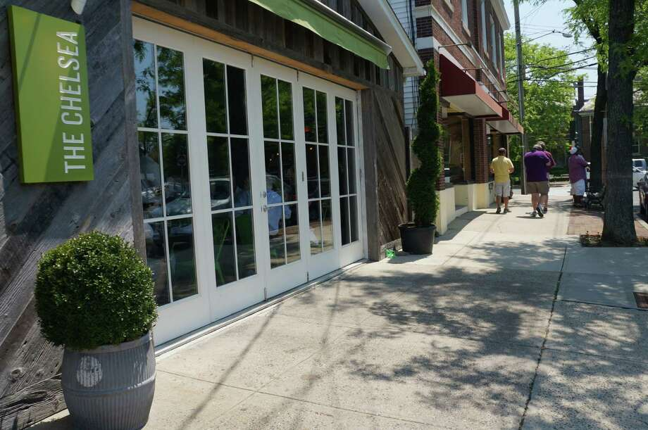 The Chelsea lost its outdoor dining when it was discovered the owners had not secured a lease for the sidewalk space from the town. Photo: Genevieve Reilly / Fairfield Citizen