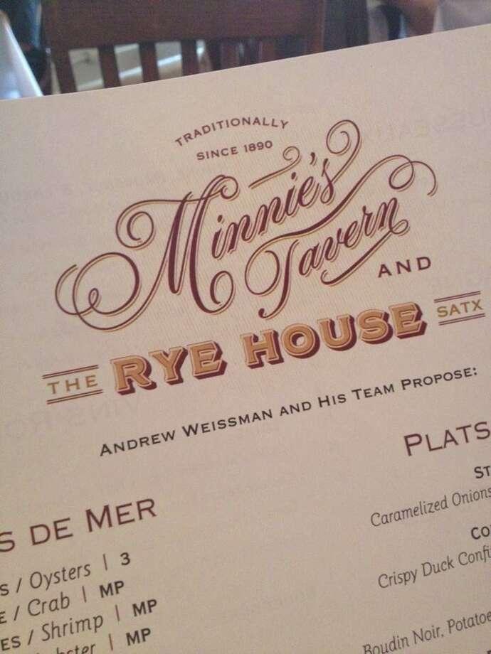 Minnie's Tavern and Rye House menu